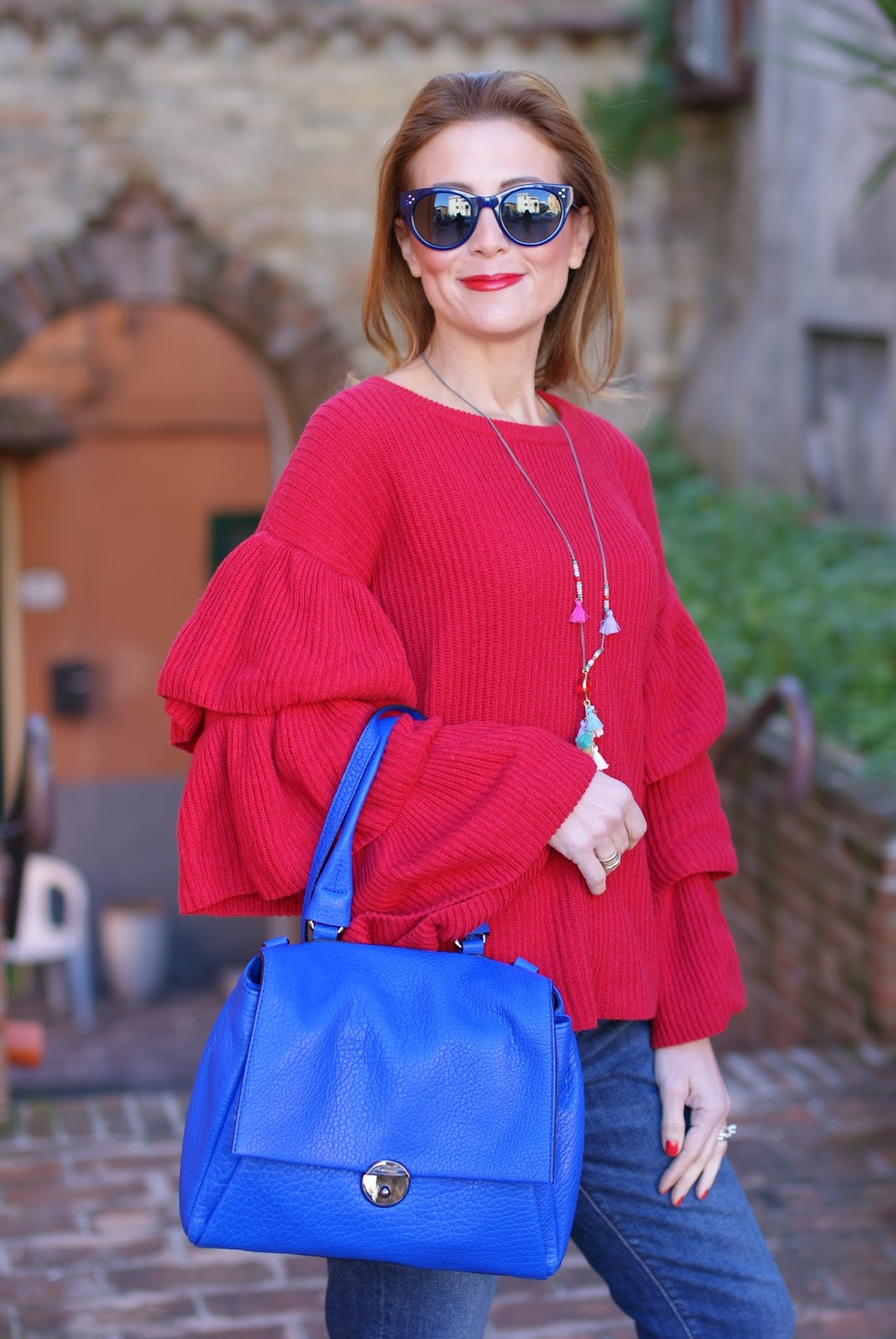 festive casual attire ruffle sleeve top  fashion and