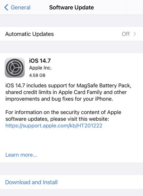 iOS 14.7 Final Features