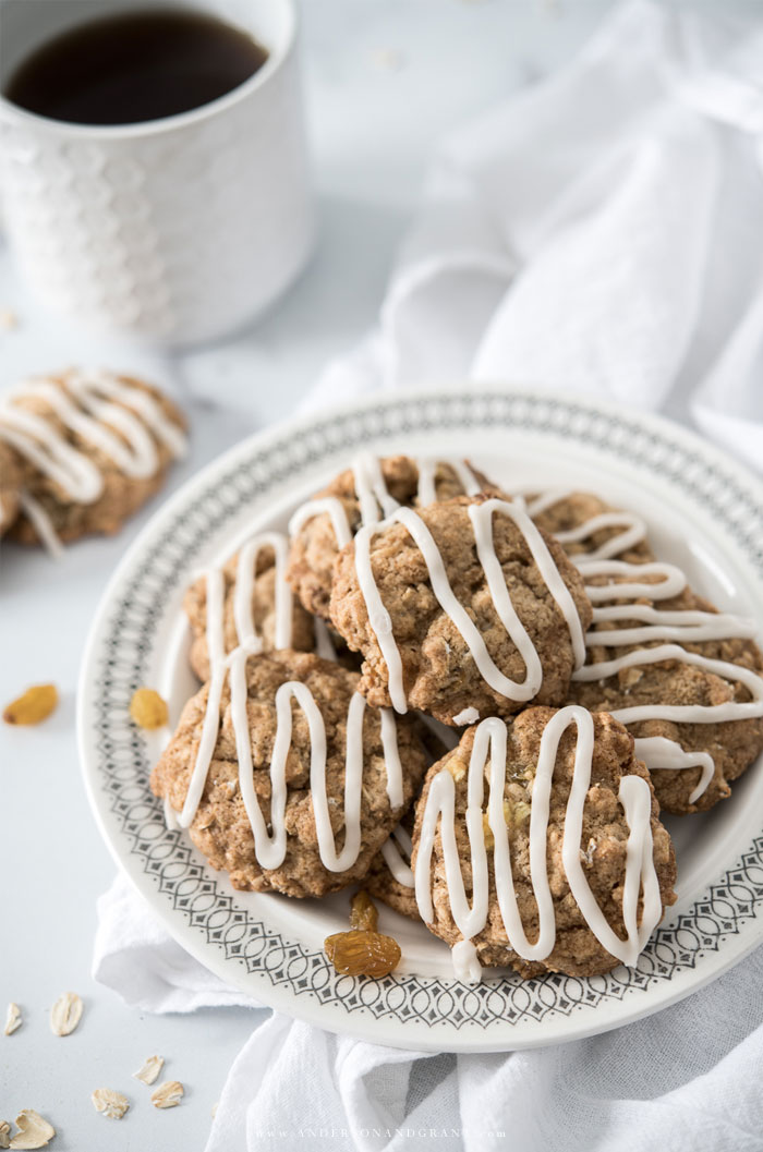 Plate of oatmeal raisin cookies with glaze