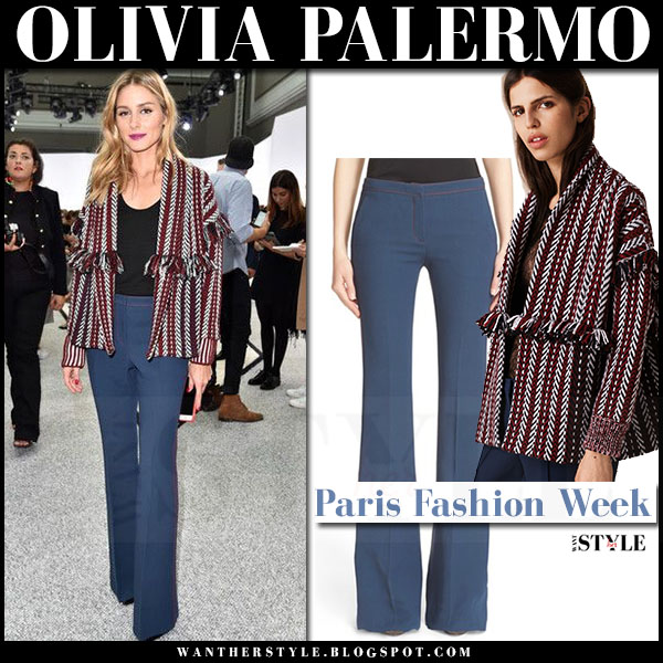 Olivia Palermo in red fringed striped jacket and navy trousers burberry what she wore paris fashion week front row