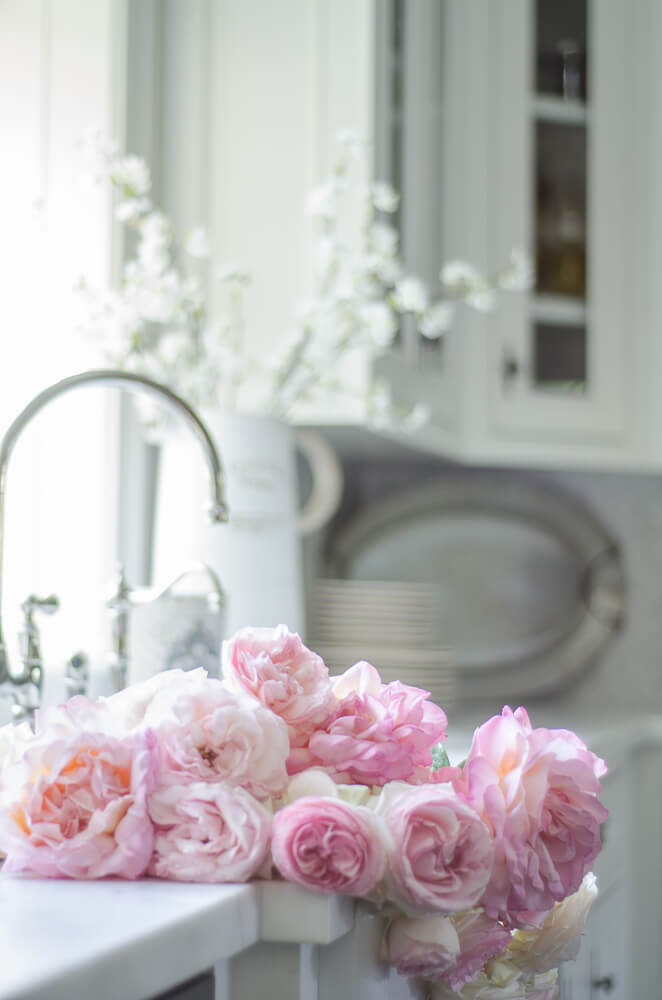 peony bouquet in farmhouse sink