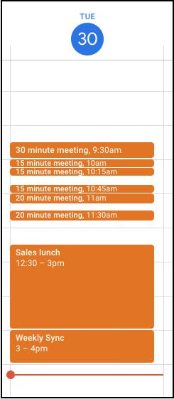 Better visualize shorter meetings in Google Calendar 1