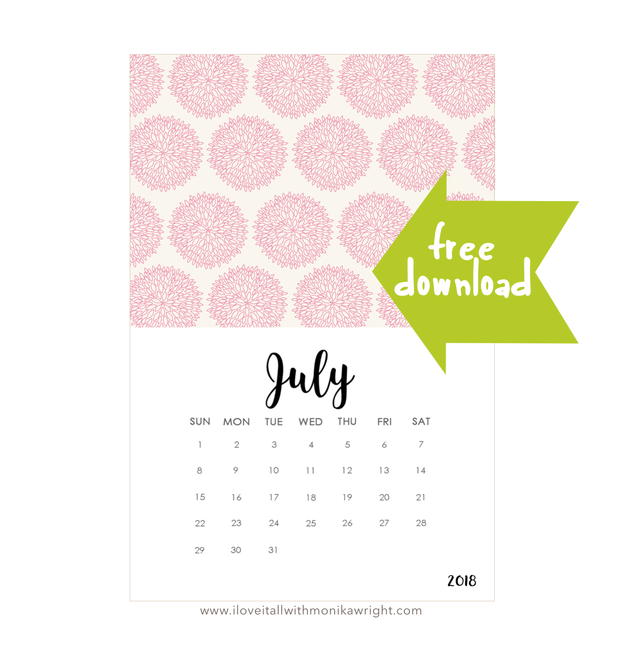Free July Calendar Download
