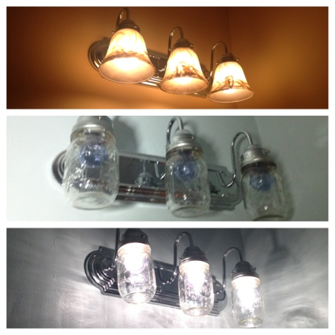 Two it yourself reveal 100 small bathroom makeover - Mason jar bathroom light fixture ...