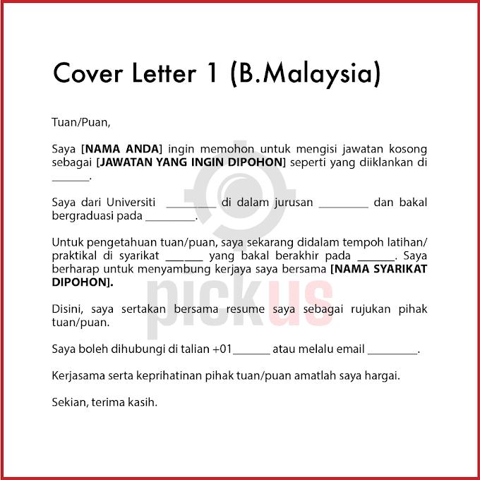 23 Contoh Cover Letter (CV) & Panduan Template BM BI - Mohon Kerja, Internship