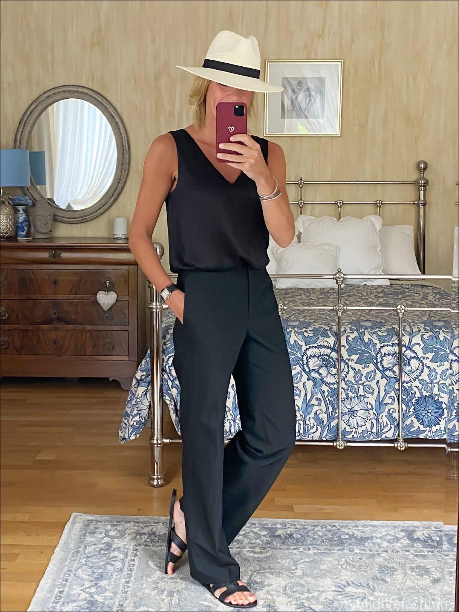 my midlife fashion, marks and Spencer silk sleeveless v neck top, Baukjen wide legged trousers, Zara Panama hat, Ancient Greek Desmond leather slides