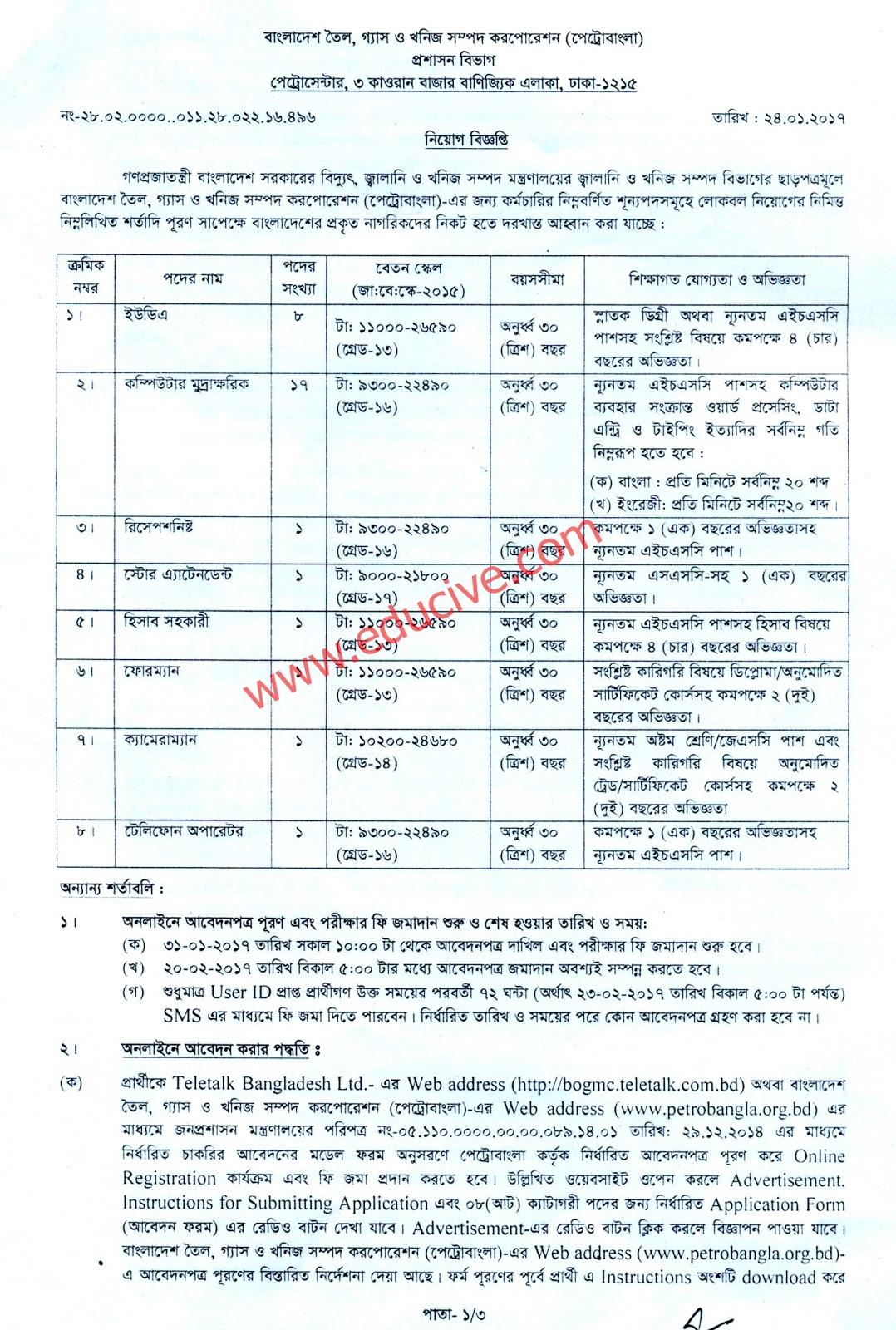 petro bangla job circular 2017