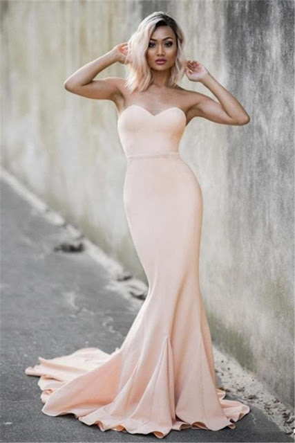 Simple But Elegant Sweetheart Mermaid Evening Dress 2019 Sweep Train