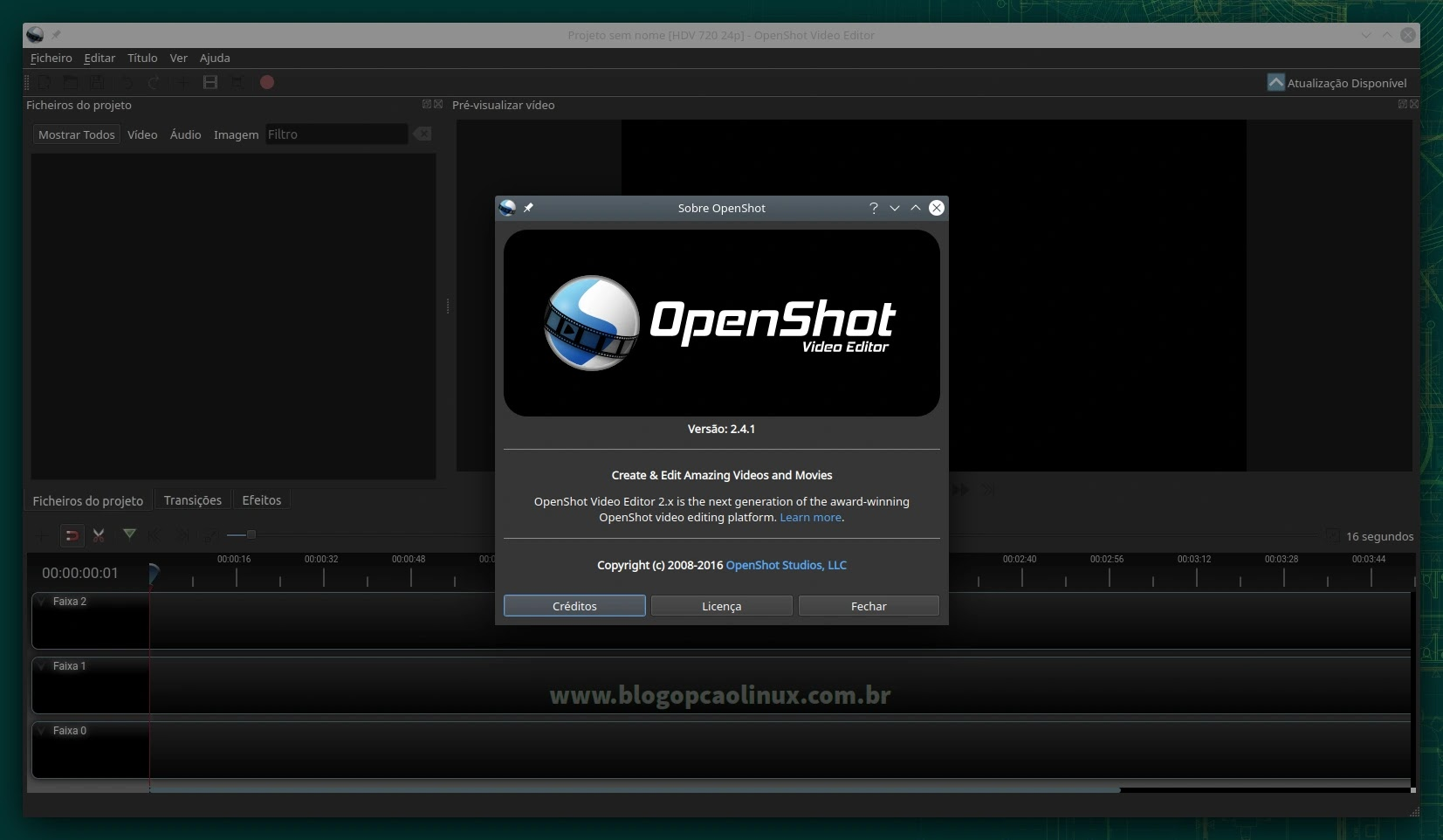OpenShot executando no openSUSE Leap 15.3