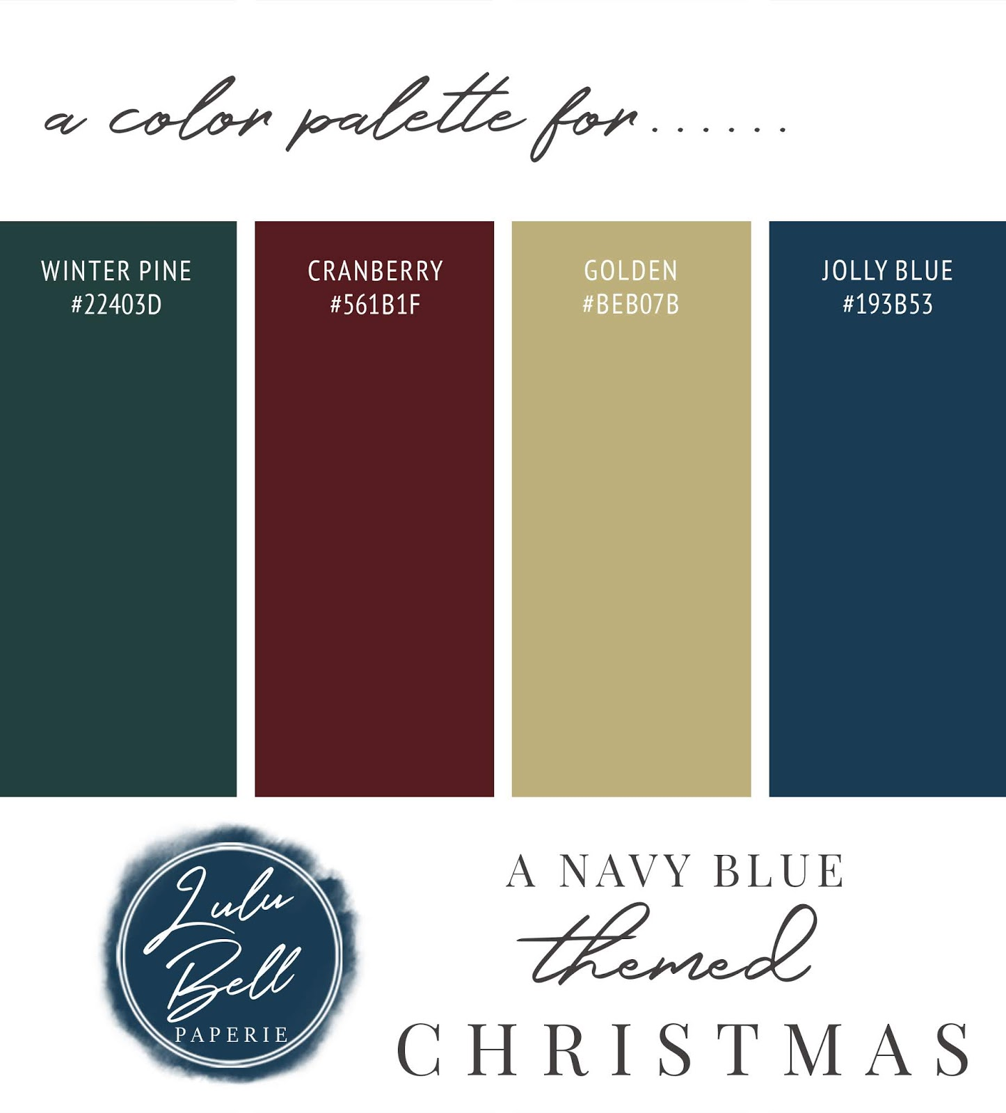 Burgundy, Navy Blue, Gold, and Green Christmas Color Palette Swatch Card : Winter Pine, Cranberry, Golden, and Jolly Blue