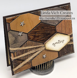 Linda Vich Creates: Wood Textures Goodbye. The Tailored Tag punch teams up with Wood Textures DSP to create this inlaid wood effect for a masculine card.