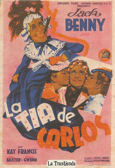 La Tía de Carlos - Folleto de cine - Jack Benny - Kay Francis - Anne Baxter