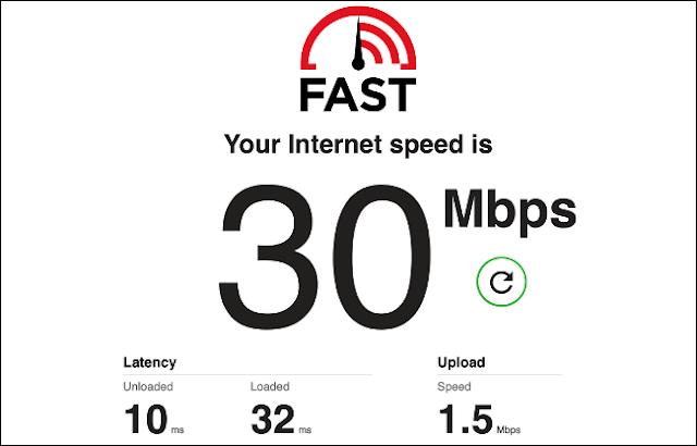 نتائج اختبار سرعة الإنترنت على Fast.com.