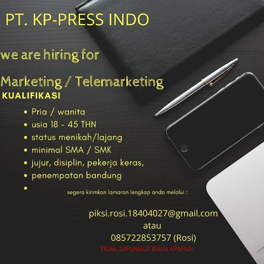 Lowongan Kerja PT. Kp Press Indo Bandung Oktober 2020