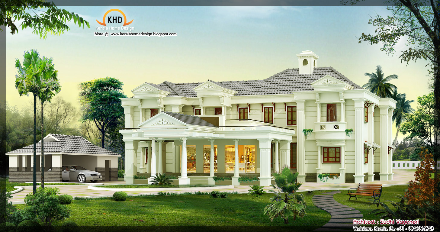 3850 sq ft luxury house design kerala home design and for Mansion architecture designs