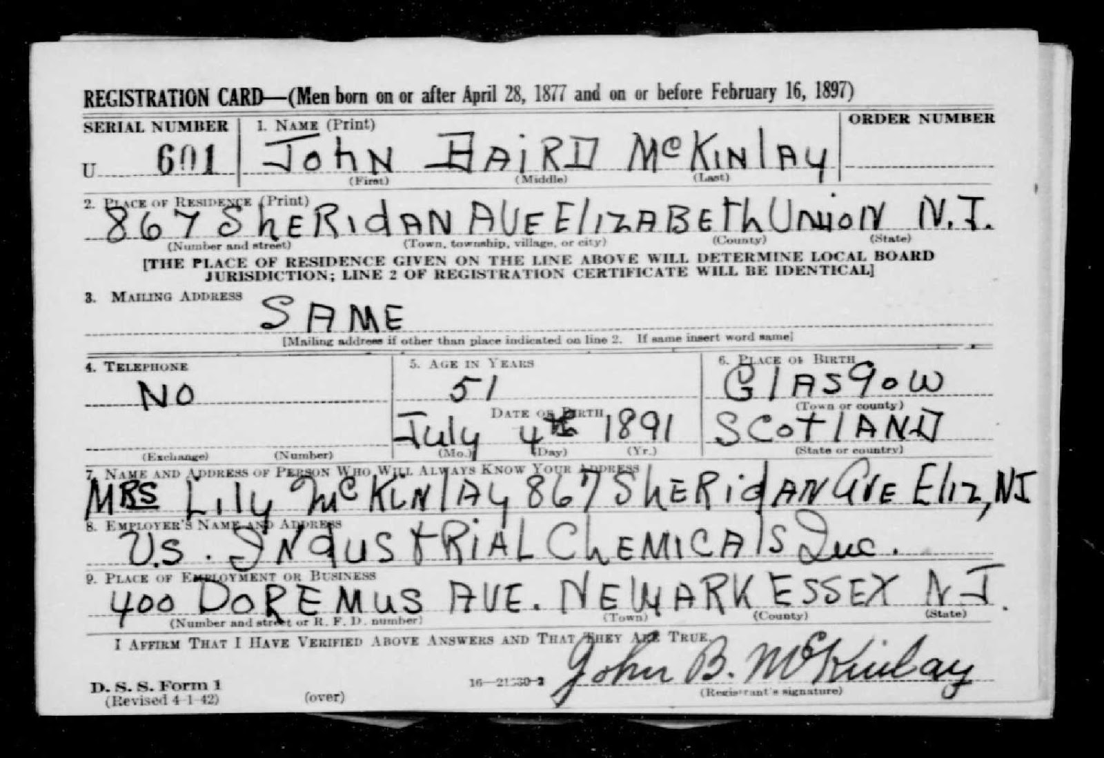 "Ancestry.com, ""U.S. World War II Draft Registration Cards, 1942,"" database on-line, Ancestry.com (http://www.ancestry.com/ : accessed 9 Mar 2015), entry for John Baird McKinlay, serial number U601, Draft Board 8, Elizabeth, Union County, New Jersey; citing Selective Service Registration Cards, World War II: Fourth Registration. Records of the Selective Service System, Record Group Number 147, National Archives and Records Administration."