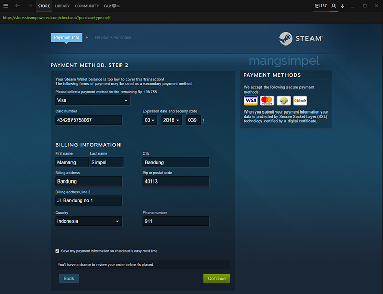 Cara Membeli Game Berbayar di Steam - Credit Card
