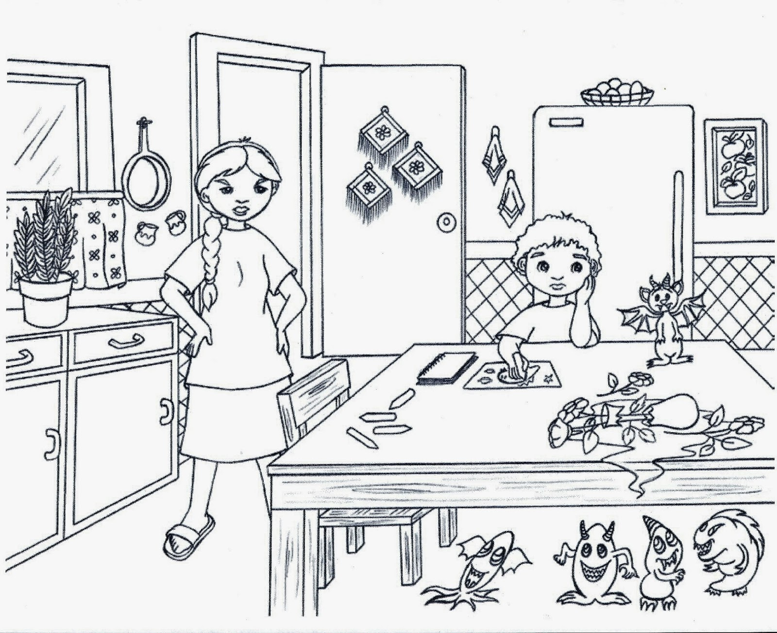 Desenhos Cozinha Para Colorir