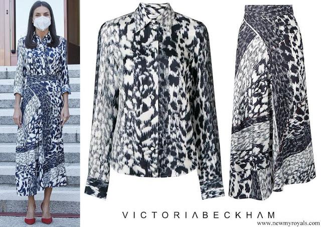 Queen Letizia wore Victoria Beckham Leopard print silk blouse and midi skirt