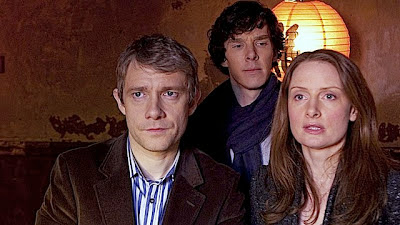 Zoe Telford with Benedict Cumberbatch and Martin Freeman in BBC Sherlock 'The Blind Banker'
