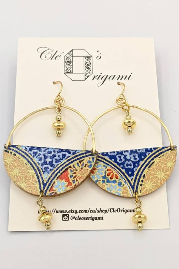 Pair of chiyogami paper and wood boho geometric earrings