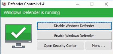 Bật và tắt Windows Defender bằng phần mềm