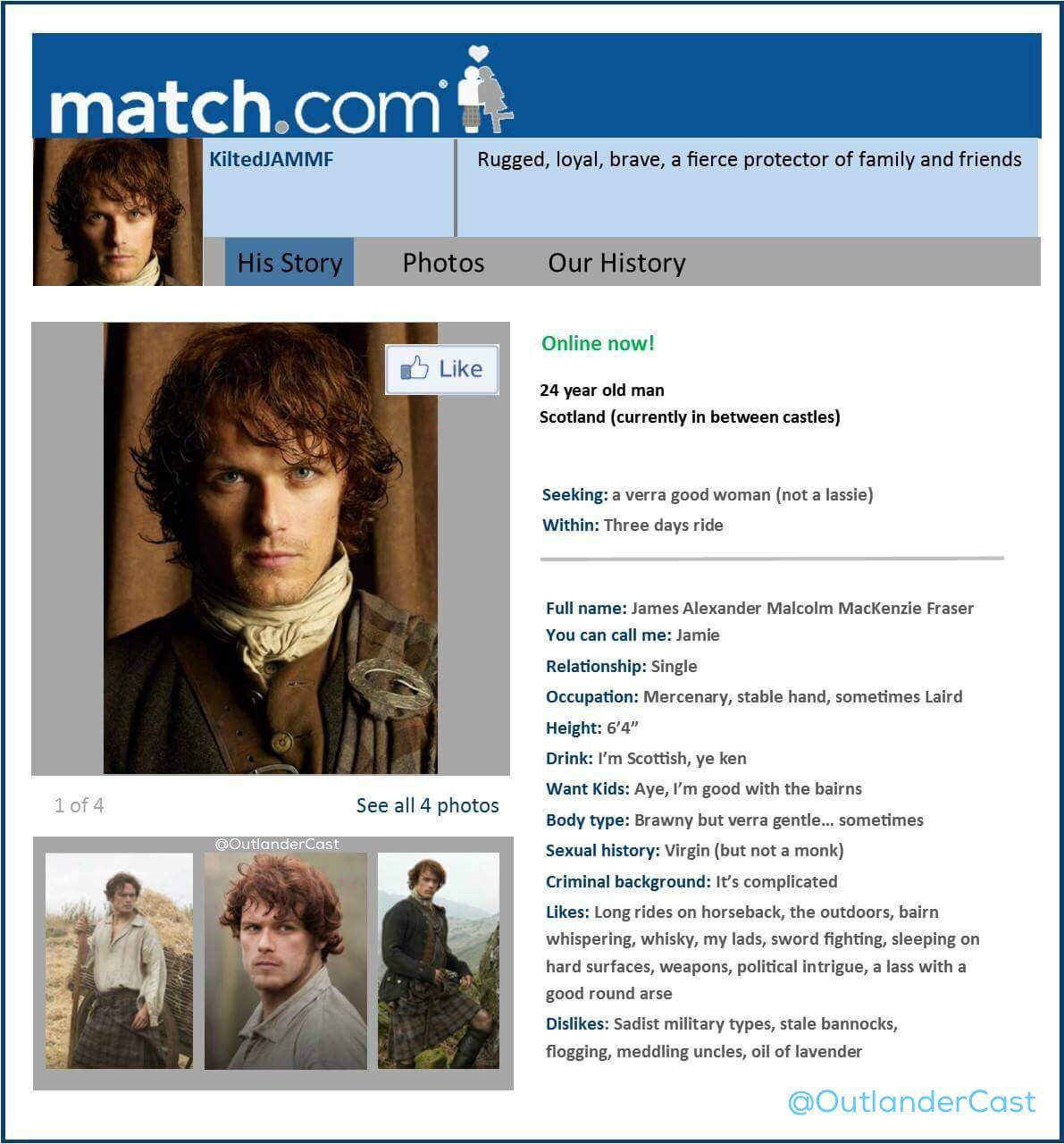 Jamie Fraser online dating profile