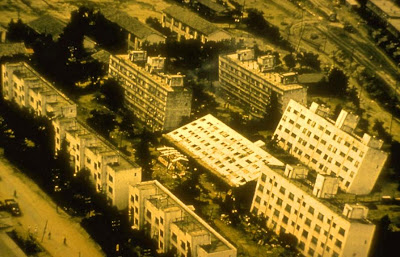 Apartment Houses  Leaned in Niigata, Japan during  magnitude 7.4  Niigata, Japan  Earthquake 1964