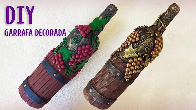 DIY: Garrafa de Vinho Decorada com Cachos de Uvas (Reciclagem - Lixo ao Luxo)