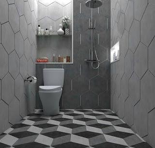 Desain kamar mandi minimalis monokrom modern  30 Desain kamar mandi