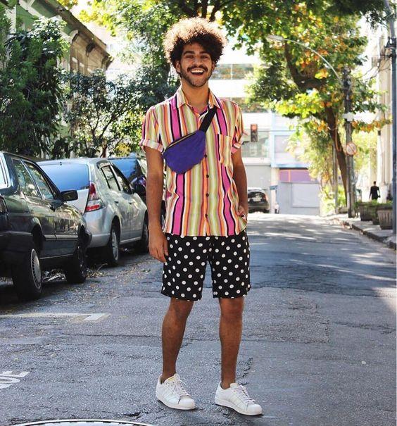 look masculino carnaval 2018 com pochete masculina