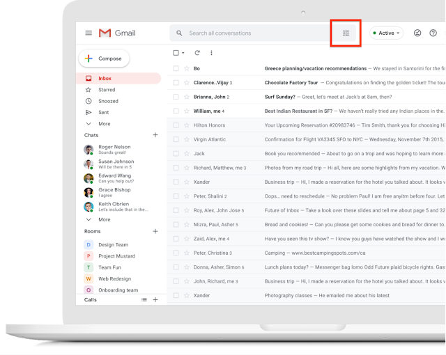Visual update to the Gmail search box 1