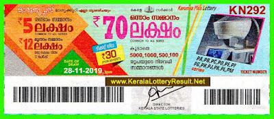 Kerala Lottery Result 28-11-2019 Karunya Plus KN 292 Lottery-(keralalotteryresult.net)