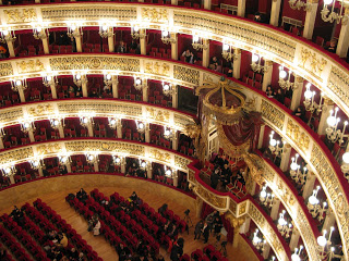 The sumptuous interior of the Teatro San Carlo