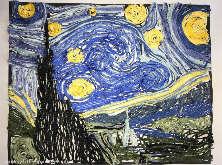Vincent Van Gogh yarn craft for kids