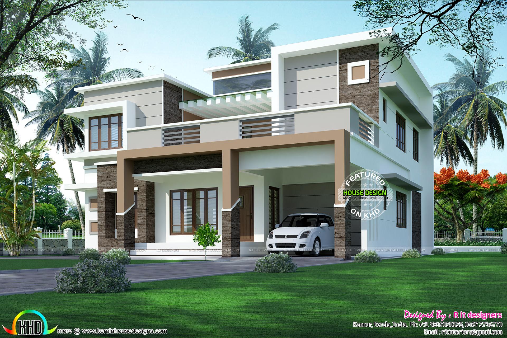 Modern Flat Roof Sober Colored Home Kerala Home Design