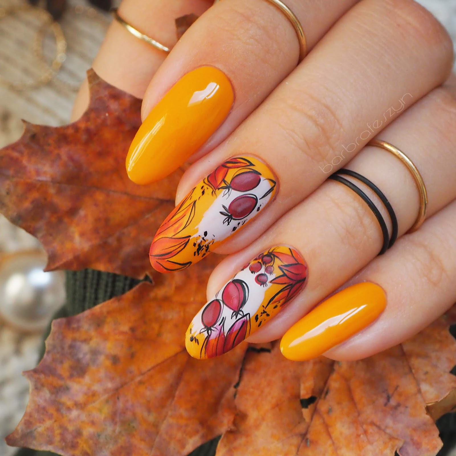 Musztardowe Paznokci Jesienne Zdobienia Nails Company