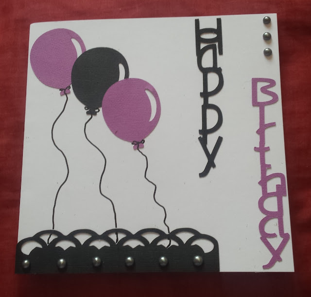 "Happy Birthday - Balloons in purple and black 7"" square card"