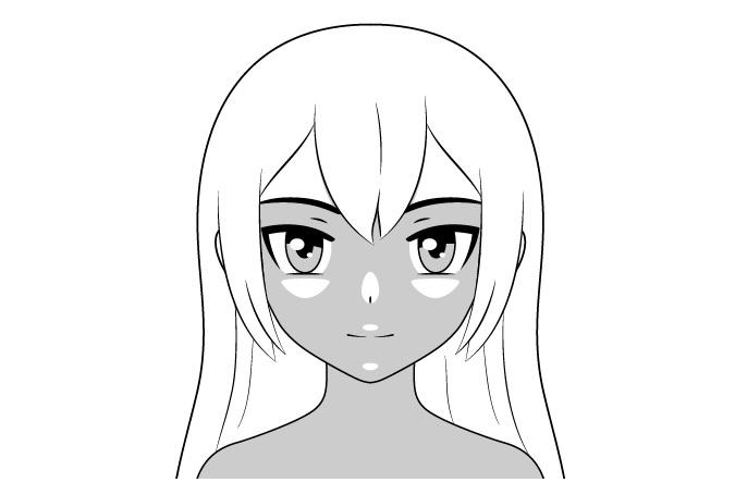 Pencahayaan atas naungan wajah anime