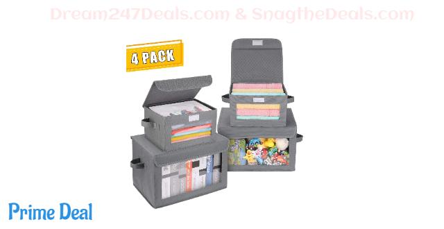 20% OFF 4-Pack Storage Bins with Flip-top Lids