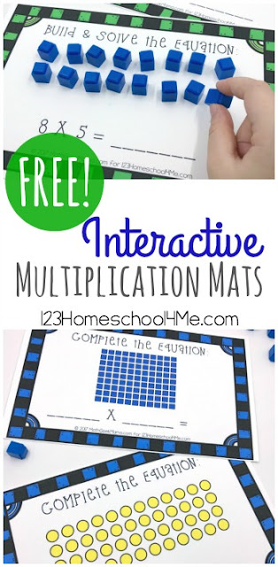These free Interactive mats are a fun MULTIPLICATION ACTIVITIES to help kids learn about and practice math. They are not only great multiplication activities 4th, but for 3rd grade, are free, hands on, homeschool, math centers, and FUN!