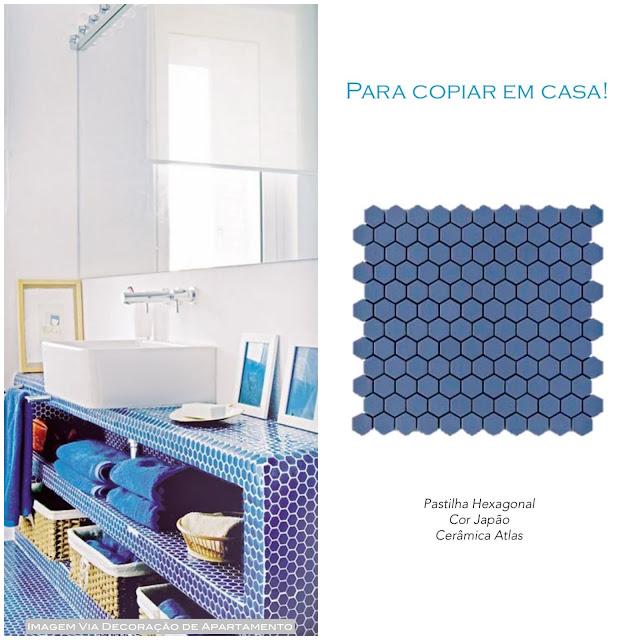 decoração com pastilha hexagonal
