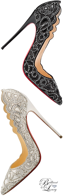 Brilliant Luxury ♦ Christian Louboutin Top Vague Scalloped Crystal Red Sole Pump