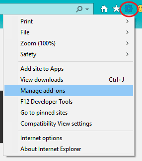 manage add-ons in internet explorer