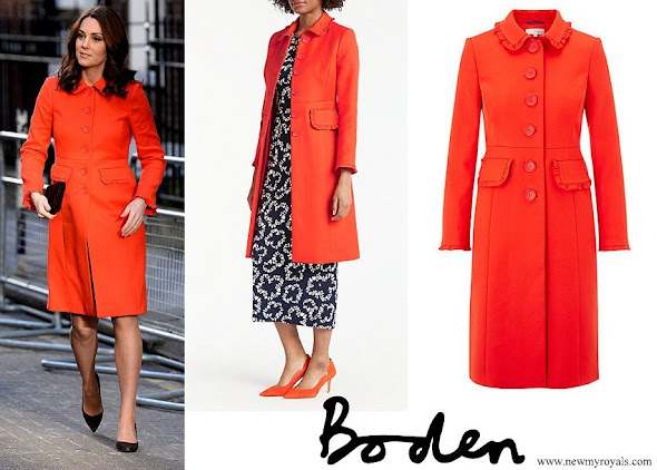 Kate Middleton wearing Boden Lena Frill Coat