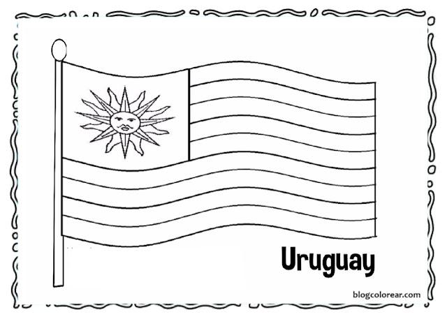Bandera de Uruguay ondeante dibujo para colorear.