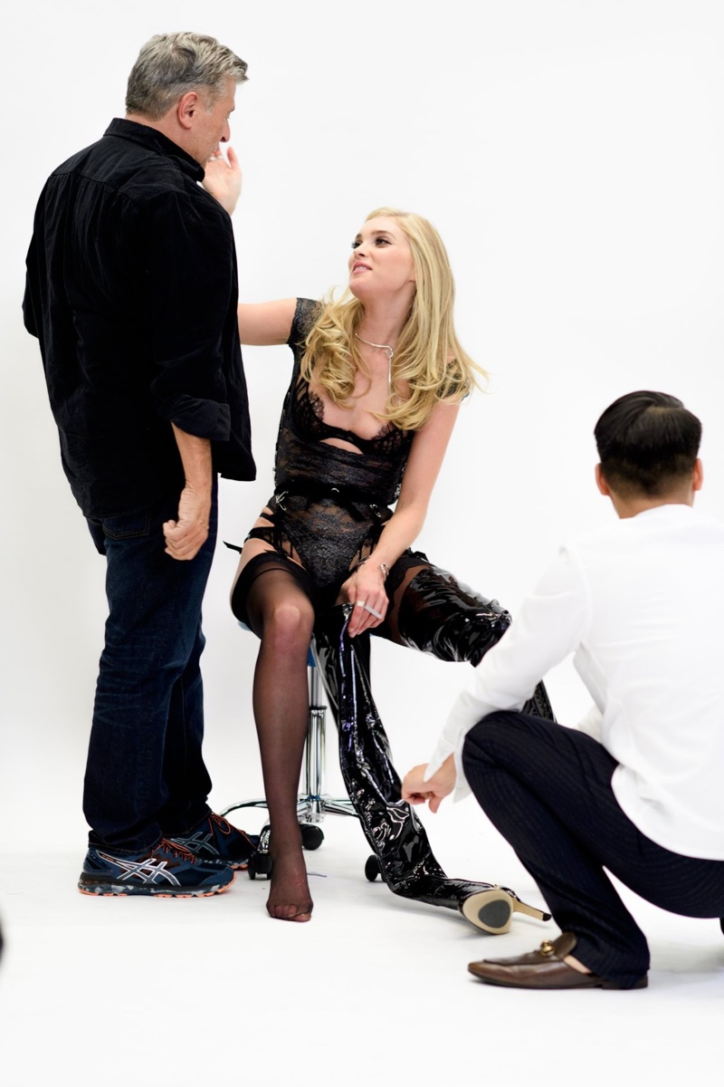 With Victoria's Secret creative director Ed Rezek, Elsa Hosk takes a break on set