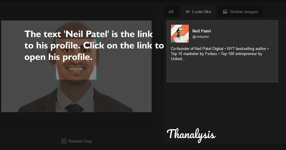 Click on the text 'Neil Patel' to open his detailed search results on Bing.