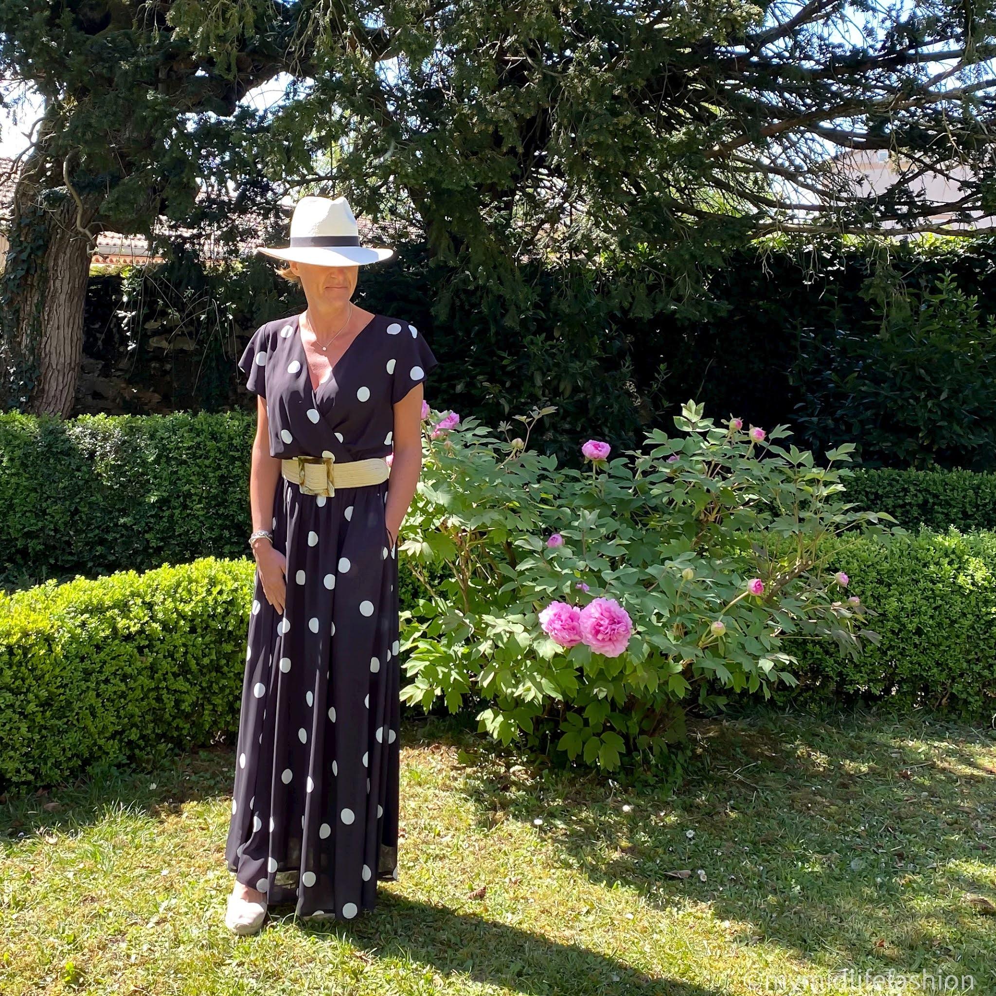 my midlife fashion, hot squash chiffon wrap top maxi dress, zara straw Panama hat, zara jute woven belt, Carl Scarpa Brittany wedge sandals