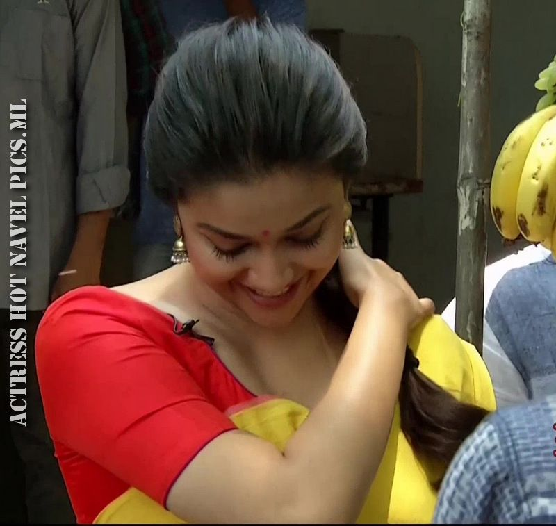 Keerthy Suresh Hot Sexy Bare Back Photos In Saree